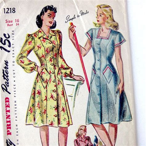 sewing pattern house dress 1940s vintage sewing pattern misses fit and flare button