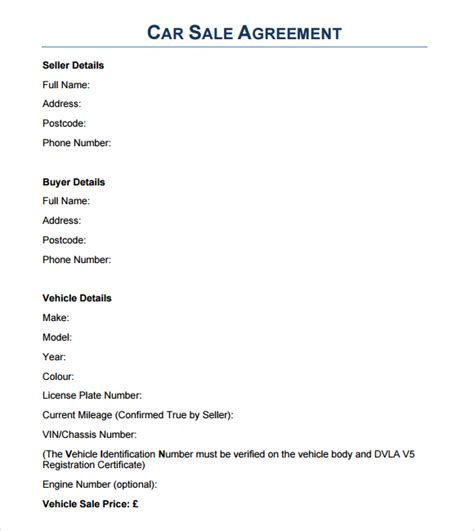 agreement of sale template for a vehicle 6 free sales agreement templates excel pdf formats