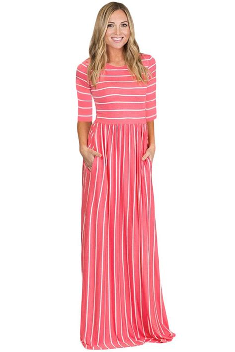 Rosy White by Us 9 07 Rosy White Striped Casual Pocket Style Maxi Dress