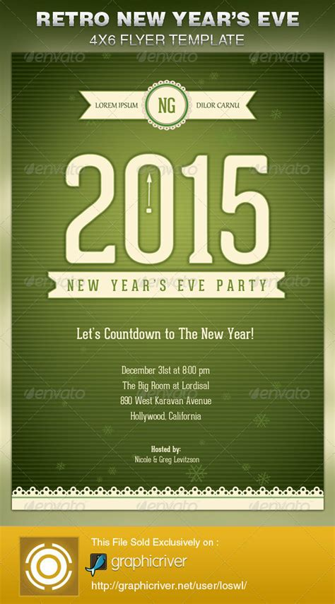 retro new year s eve party flyer template psdbucket com