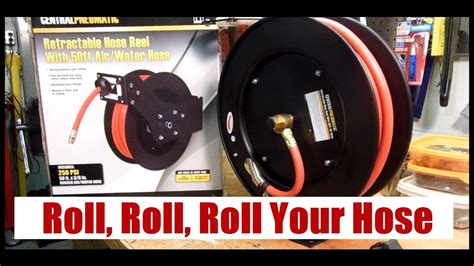harbor freight  ft air hose reel youtube