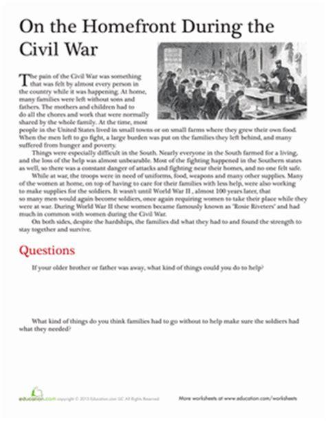 civil war worksheets 5th grade printable life during the civil war worksheet education com