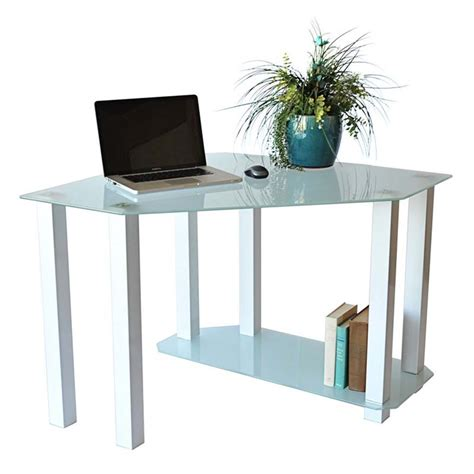 Rta Frosted Glass Corner Computer Desk White Ct 013w Glass Desk Corner