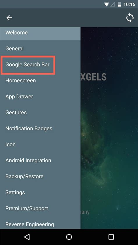 how to customize or remove the home screen search bar in