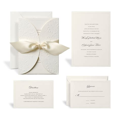 printable invitations michaels buy the embossed ivory wrap wedding invitation kit by