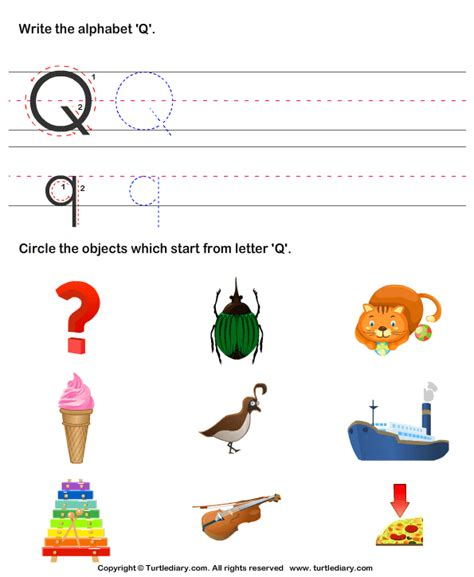 words with q identify words that start with q worksheet turtle diary