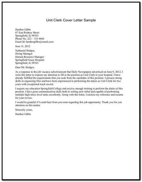 Cover Letter For Office Clerk 28 Images Cover Letter