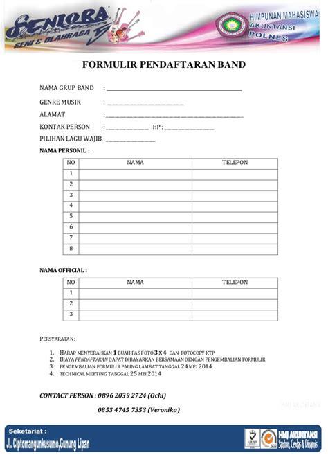 formullir pendaftaran band