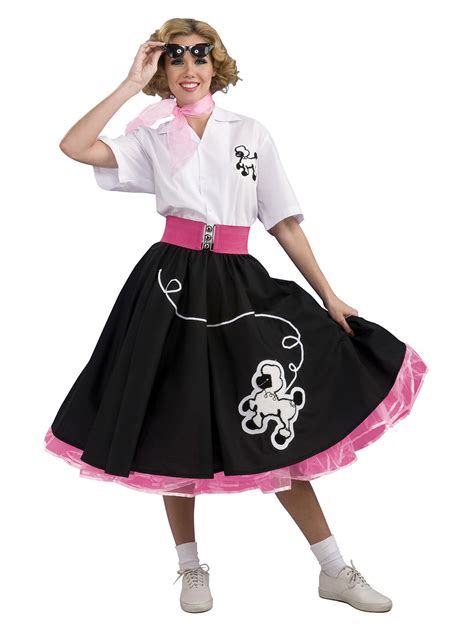 adult 50s costumes mens and womens 50s costume ideas black 50s poodle skirt costume 50s womens costumes