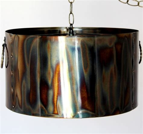 Metal Drum Pendant Light Rustic Torched Metal Drum Pendant Light L Shade Pro