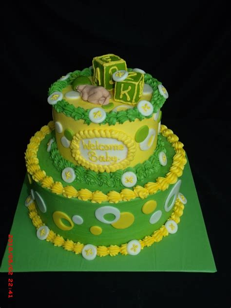 Green Baby Shower Cake by Lime Green And Yellow Baby Shower Cake Cakecentral