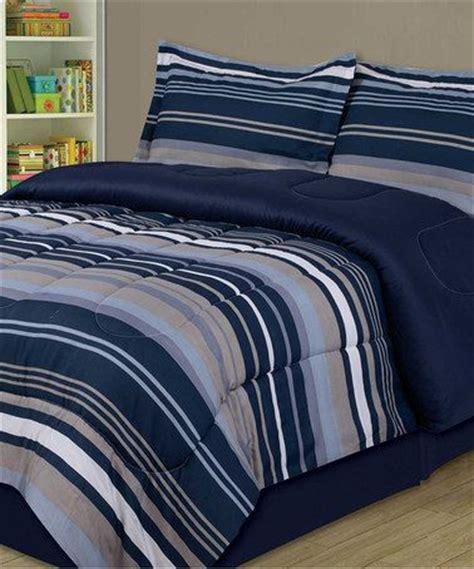 blue slate stripe comforter set
