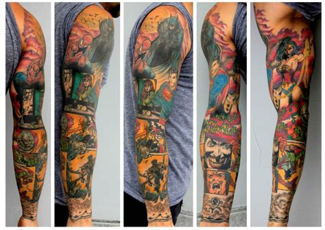 comic tattoo designs amazing arm comic best ideas designs