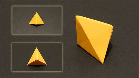 Tetrahedron Origami - how to make an origami tetrahedron three sided pyramid