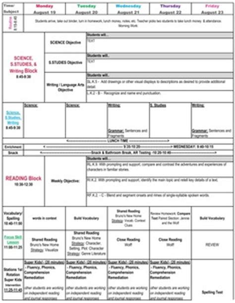 lesson plan template common core kindergarten kindergarten common core lesson plan template by math tech