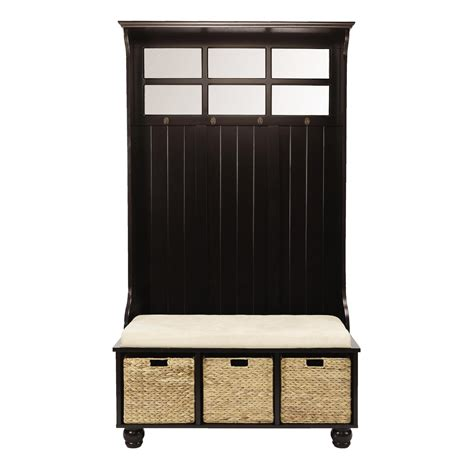 hall storage bench with baskets hall tree with 3 storage baskets christmas tree shops