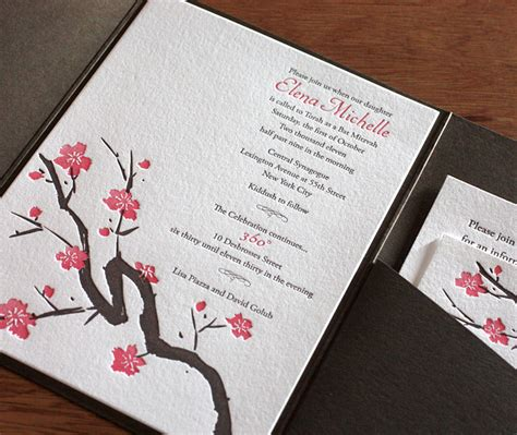 cherry blossoms wedding invitations cherry blossom wedding invitations letterpress wedding invitation