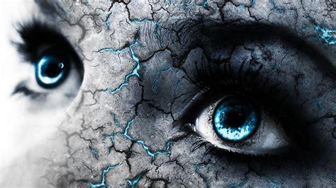 wallpaper of blue eyes blue eyes and cracked skin wallpaper digital art