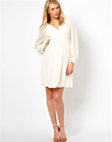 panel sleeve dress asos dress with blouson sleeve and rouched panel in white