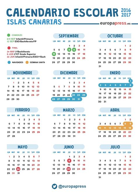 Calendario 2018 Semana Santa Mexico Calendario Escolar 2016 2017 En Canarias Navidad Semana