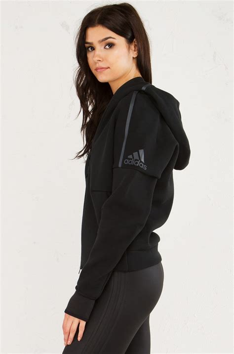 Adidas Zne Hoodie Black adidas zippered hoodie with thumb holes in black