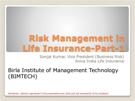 Mba In Insurance And Risk Management In India by Risk Management In Insurance