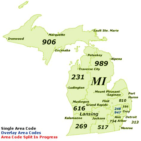 michigan area code map michigan area codes map michigan map