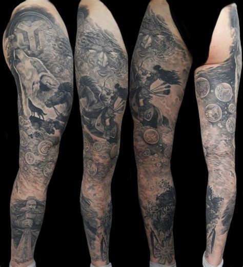 full leg tattoos protobulgarian theme leg nikolay