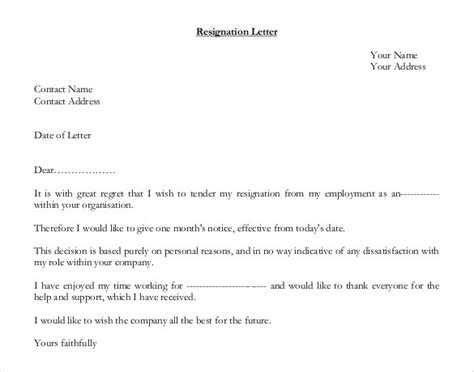 letter of resignation template uk templates resume