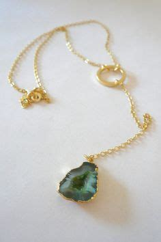 verde lariat necklace gold plated druzy agate with by oiajules