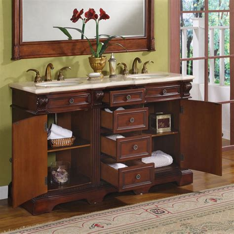 58 bathroom vanity double sink silkroad exclusive traditional 58 double sink bathroom