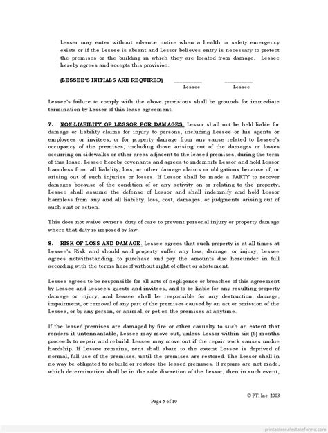 standard lease agreement free standard lease agreement form printable real estate