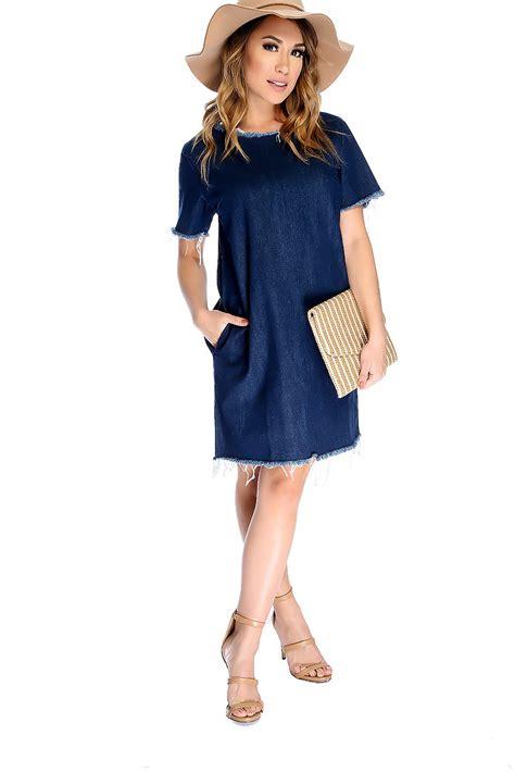 Dress Denim Y 172 denim distressed sleeve casual dress