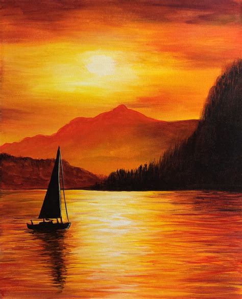 sailboat in sunset sailboat with golden sunset mountain background