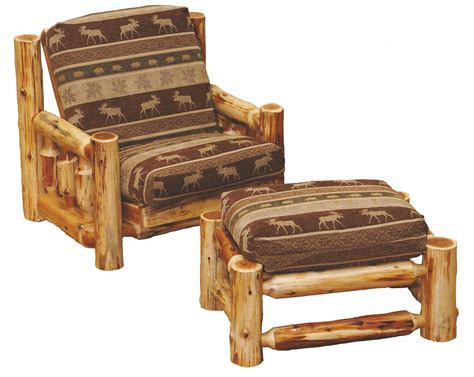 futon chair and ottoman cedar futon chair with ottoman from fireside lodge 13160