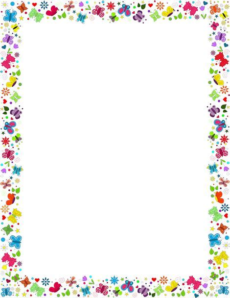 a border featuring butterflies in various colors and designs free downloads at http