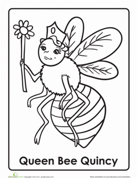 queen bee coloring page q for queen bee worksheet education com
