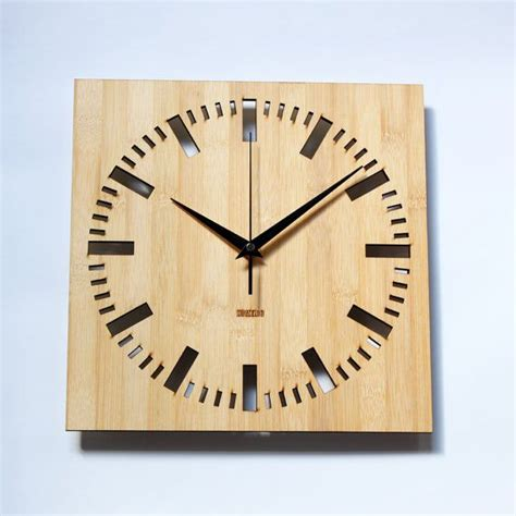neat clocks bamboo unique wall clock square index klockor