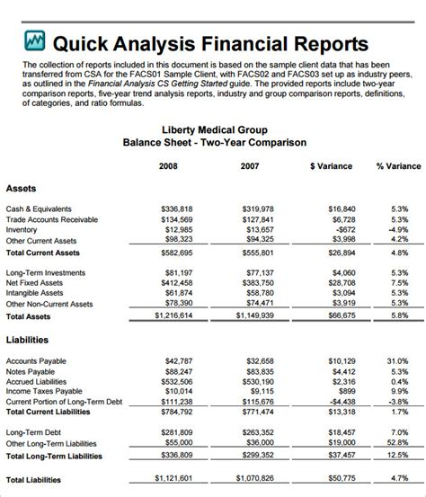 financial breakdown template financial analysis templates 7 free word excel pdf