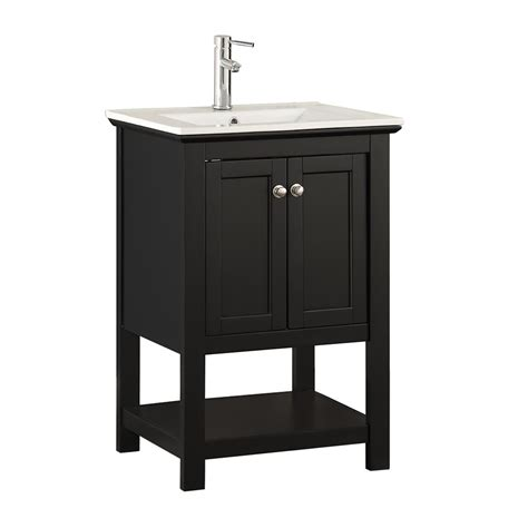 Ceramic Bathroom Vanity Fresca Bradford 24 In W Traditional Bathroom Vanity In Black With Ceramic Vanity Top In White