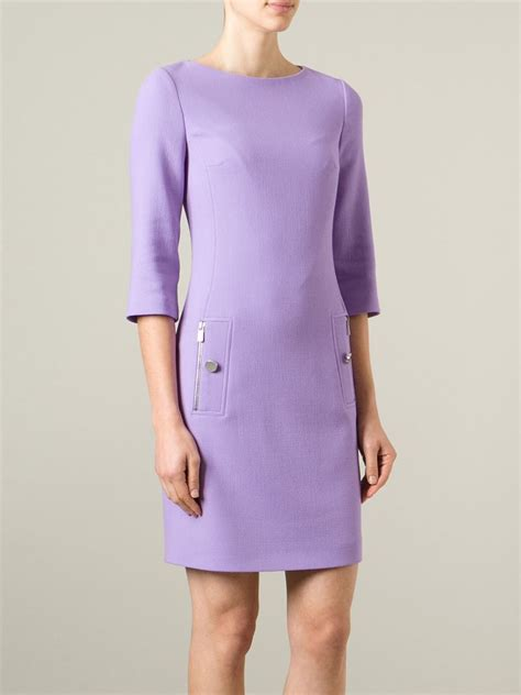 three quarter sleeve bowknot embellished pocket dress michael kors three quarter sleeve shift dress in purple lyst