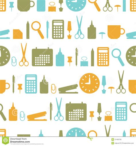 interior design elements icons stock vector art 165814827 seamless background with office stationery icons stock