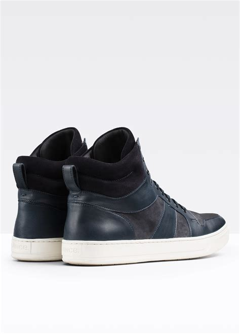 vince mens sneakers vince adam leather sneaker in gray for lyst