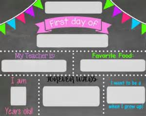 Day Of School Sign Template by Day Of School Chalkboard Sign Chalkboard Sign Print