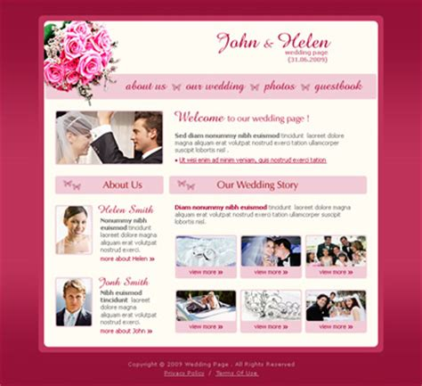 wedding newsletter template wedding page design free templates