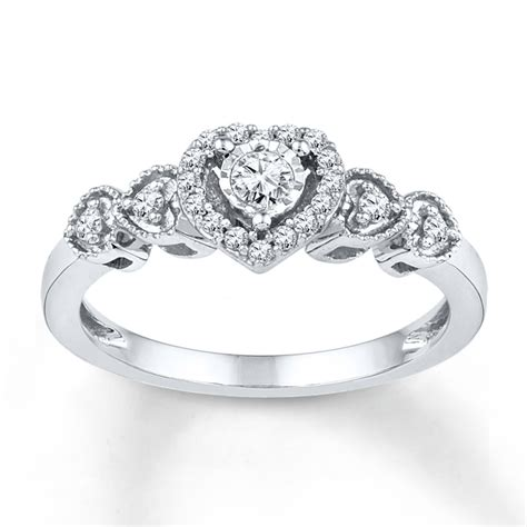 jared promise ring 1 5 ct tw cut sterling