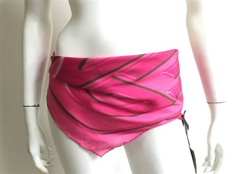 fendi pink silk scarf with tags at 1stdibs