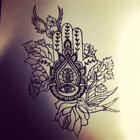 hand of hamsa henna tattoo hamsa birds roses tattoos inspiration
