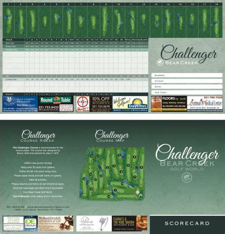 bench craft co exle of a tri fold golf course scorecard created by
