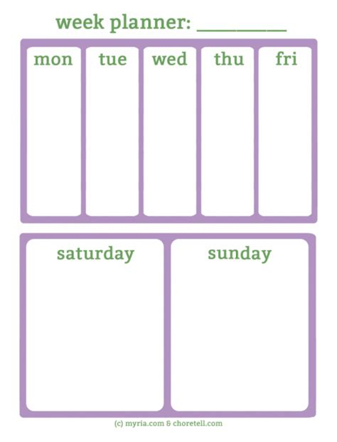 weekend only calendar template monday thru sunday printable planner calendar template 2016
